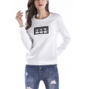 Abstract Figure Print Crewneck Long Sleeve Womens Regular Fit Sweatshirt