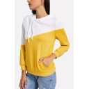 Trendy Two-Tone Yellow and White Long Sleeve Irregular Drawstring Hoodie