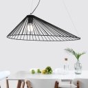 Black Caged Hanging Lamp Simple Style Metal 1- Light Pendant Lamp for Dining Room