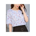 Fashion Blue Pattern Ruffled Round Neck Flared Sleeve Chiffon Blouse Top
