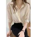 Womens Summer Chic Striped Texture Casual Loose Chiffon Button Shirt