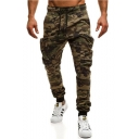 Men's Cool Fashion Camouflage Printed Zipped Pocket Drawstring Waist Slim Fit Casual Joggers Sweatpants