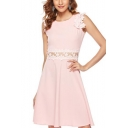 Womens Sweet Pink Chic Crochet Hem Beading Embellished Cutout Waist Round Neck Mini A-Line Dress