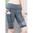 Womens Fashion Heather Grey Side Pocket Mid Waist Mesh Cutout Breathable Fitness Running Biker Cycling Shorts