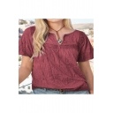 Vintage Ethnic Style Womens Plain V-Neck Short Sleeve Casual Linen Tee