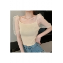 Girls Summer Trendy Plain Sheer Mesh Puff Sleeve Fitted Knit T-Shirt