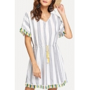 Womens Summer Hot Popular V-Neck Short Sleeve Striped Print Tassel Hem Drawstring Waist Mini A-Line Dress