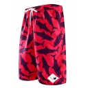 Summer Fashion Shark Pattern Red Drawstring Waist Beach Shorts Swim Trunks for Men with Pockets and Mesh Lining