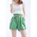 Hot Fashion Plain Drawstring Waist Button-Fly Rolled Cuff Loose Sport Sweat Shorts