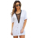 Sexy Eyelet Lace-Up V-Neck Short Sleeve Ripped Cutout Mini Casual T-Shirt Dress