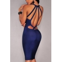 Womens Night Club Sexy Strappy Cutout Back V-Neck Sleeveless Plain Midi Bodycon Dress