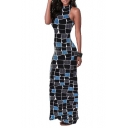 Trendy Black and Blue Block Pattern Sleeveless Sexy Cutout Back Maxi Bodycon Dress