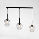 Black Finish Linear Pendant Lamp Post Modern Glass Shade 3-Head Hanging Light Fixture in Multi Colors