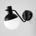 Black Finish Globe Wall Light Minimalist White Glass Shade Wall Lamp for Bathroom Bedroom