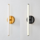 Linear LED Wall Lamp for Bedroom Hallway Post Modern Metal 1 Light Wall Sconce in Black/Gold