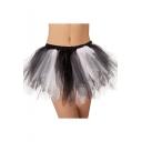 Girls Summer Popular Black and White Ballet Mesh Flared Mini Dance Skirt
