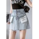 Girls Summer Cool Unique Reverse Letter Pocket Frayed Hem Light Blue Mini A-Line Denim Skirt