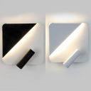 Nordic Simple Square Wall Lighting Acrylic Shade LED Black/White Wall Lamp with Rotatable Spotlight