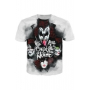 KISS Band Figure Pattern Round Neck Short Sleeve Grey T-Shirt