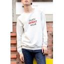 Mens Popular Letter DUSTY STREET WEAR Print Round Neck Long Sleeve Pullover Sweatshirt