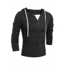 Mens Simple Plain Button Embellished V-Neck Long Sleeve Slim Fit Drawstring Hoodie