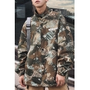 Guys Trendy Camo Printed Double-Faced Hip Hop Style Stand Collar Button Down Oversized Convertible Jacket Coat