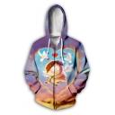 Funny Cute Heart Angel Baby Comic Figure Print Long Sleeve Zip Up Hoodie