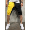 Men's Summer Hot Fashion Colorblock Zipped Pocket Drawstring Waist Slim Fit Casual Cotton Sweat Shorts