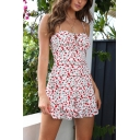Summer Chic Floral Printed Solid Color Holiday Strap Romper for Women