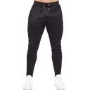 Men's New Stylish Stripe Pattern Drawstring Waist Trendy Cotton Sports Sweatpants Pencil Pants