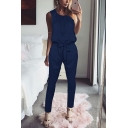 Stylish Hot Sale Simple Plain Round Neck Sleeveless Tied-Waist Jumpsuits for Women