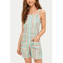 Summer Fashion Double Pockets Colorful Striped Holiday Overall Shorts Rompers