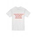 THE EXPECTATION Red Letter Print Round Neck Short Sleeve White Tee