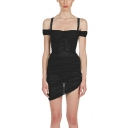 Summer Hot Popular Sexy Cold Shoulder Sheer Mesh Ruched Mini Bodycon Dress