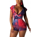 Summer V-Neck Tie Dye Ruffle Trim Sleeves Lace Up Back Skinny Rompers