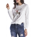 Fashion Christmas Deer Print Crew Neck Long Sleeve Casual Pullover Sweatshirt