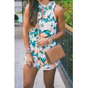 Womens Hot Stylish Floral Print Cutout Tie Neck Sleeveless Elastic Waist Casual Loose Rompers
