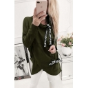 Unique Popular Letter Ribbon Cowl Neck Long Sleeve Fitted Pullover Sweatshirt