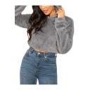 Womens New Trendy Plain Grey Long Sleeve Fluffy Fleece Crop Hoodie