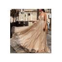 Womens Elegant V Neck Straps Sleeveless Backless Gather Waist Floor Length Sexy Amazing Mesh Dress