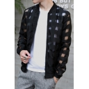 Mens Trendy Stand Collar Check Hollow Long Sleeve Zip Up Sun Protection Jacket