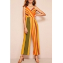Trendy Chic Plunge V Neck Straps Sleeveless Yellow Striped Print Casual Loose Holiday Jumpsuits