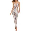 Hot Trendy Plunge V Halter Neck Sleeveless Stripped Print Crisscross Straps Skinny Fitted Nightclub Jumpsuits