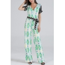 Summer Womens Trendy Green Surplice V-Neck Short Sleeve Polka Dot Print Tied Waist Jumpsuits