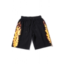 Men's Summer Trendy Fire Printed Drawstring Waist Black Cotton Relaxed Sweat Shorts