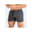 Men's New Stylish Letter Printed Side Slit Drawstring Waist Fitness Shorts