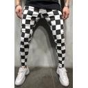 Men's New Fashion Colorblocked Plaid Pattern Black and White Skinny Pencil Pants