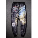 Men's Cool Fashion Letter Science Fiction Printed Drawstring Waist Casual Cotton Sweatpants