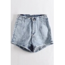 Womens Summer Vintage High Rise Washed Stretch Fit Denim Shorts
