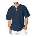 Mens New Trendy Simple Plain Washed Cotton Lace-Up Collar Loose Casual Tee Top